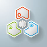 Three Hexagons With Hexagon Centre Royalty Free Stock Photography