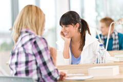 Three high school students in classroom Stock Photography