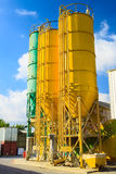 Three high towers on chemical plant Stock Photo