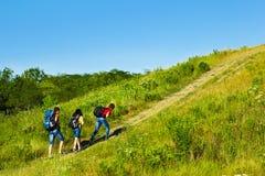 Three hikers Stock Photo