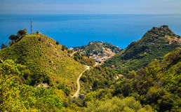 Three hills forming Taormina, Sicily Royalty Free Stock Images