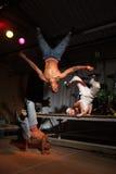 Three hip-hop dancers stock images