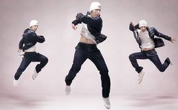 Three hip-hop dancers royalty free stock photography