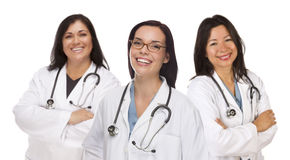 Three Hispanic and Mixed Race Female Doctors or Nurses Royalty Free Stock Photography