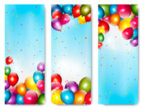 Three holiday banners with colorful balloons. Stock Photo