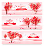 Three Holiday banners. Valentine trees with heart-shaped leaves. Vector Stock Images