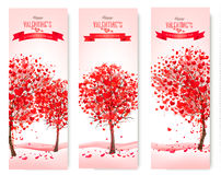 Three Holiday banners. Valentine trees with heart-shaped leaves. Royalty Free Stock Photography