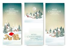 Three Holiday Christmas banners with a winter village and 2018. Vector Stock Illustration