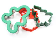 Three Holiday Cookie Cutters Royalty Free Stock Photo