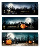 Three Holiday Halloween Banners with Pumpkins. Stock Photography