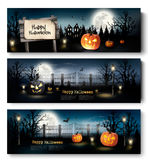 Three Holiday Halloween Banners with Pumpkins. Royalty Free Stock Images