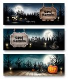 Three Holiday Halloween Banners with Pumpkins. Stock Image