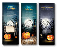 Three Holiday Halloween Banners with Pumpkins. Stock Photos