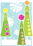 Three holiday trees. A vertical illustration of colorful trees with a winter background vector illustration