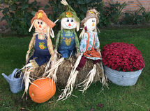 Three Holloween scarecrows Stock Image