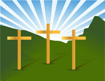Three holy crosses. Over a beautiful landscape Royalty Free Stock Photo