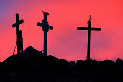 Three Holy Crosses in Sunrise. Three crosses on Tome Hill, New Mexico at sunrise symbolic of crucifixion Royalty Free Stock Photography