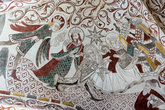 The three holy kings. Fresco from the 1400s. Royalty Free Stock Photo