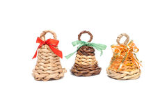 Three home-made knitted Christmas bells Stock Image