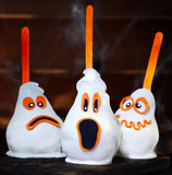 Three homemade creative Halloween candy pears stock images