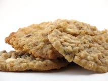 Three homemade oatmeal cookies Stock Image