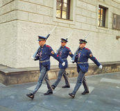 Three honor guards of Prague Castle Stock Image