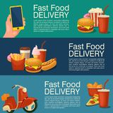 Three horizontal banner for fast food delivery. Royalty Free Stock Image