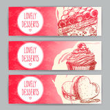 Three horizontal banners with desserts Stock Photos
