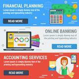 Three horizontal banners FINANCIAL ACCOUNTANT. Vector horizontal banners financial accountant concept. Financial planning, online banking, accounting services in Stock Photography