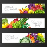 Three horizontal banners with fresh fruits and vegetables Royalty Free Stock Photos