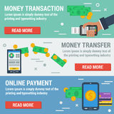 Three horizontal banners ONLINE PAYMENT. Vector horizontal banners online payment. Financial operation, money online transaction, banking online, easy money Royalty Free Stock Images