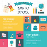 Three horizontal banners with school and education icons. Back to school. Flat and metro design.  Stock Image
