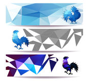 Three Horizontal  banners set for chinese new year of rooster  illustrtion. Three Horizontal  banners set for chinese new year of rooster  vector Stock Photography