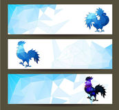 Three Horizontal  banners set for chinese new year of rooster  illustrtion Royalty Free Stock Images