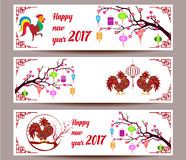 Three Horizontal  banners set for chinese new year of rooster Royalty Free Stock Photo