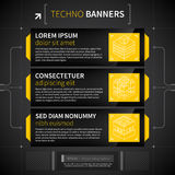 Three horizontal banners in techno style. Royalty Free Stock Photo