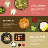 Three horizontal banners with thai, japanese and chinese food. Vector illustrations with place for your tex vector illustration