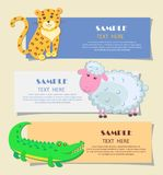 Three Horizontal Cards with Animals Teaching Image. Three horizontal cards with cheerful animals teaching image with sample text. Spotty yellow jaguar, curly Stock Image