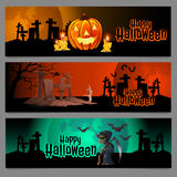 Three horizontal cards, graveyard in Halloween Royalty Free Stock Photo
