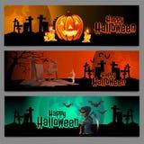 Three horizontal cards, graveyard in Halloween Royalty Free Stock Photo