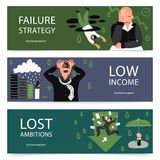 Failure Business Banner Set. Three horizontal failure business banner set with failure strategy low income and lost ambitions descriptions vector illustration Royalty Free Stock Photo
