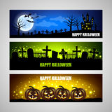 Three horizontal Halloween banners Royalty Free Stock Images