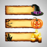 Three horizontal Halloween banners from paper Royalty Free Stock Photo