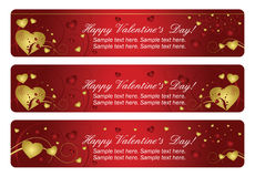 Three horizontal heart valentines banners Stock Images
