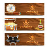 Three horizontal pirate banners. Three horizontal wooden pirate banners with jolly roger rum treasure chest looking glass gold compass and cocked hat isolated Stock Image
