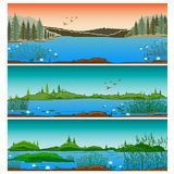 Three horizontal river landscapes. With forest hills and  reeds Royalty Free Stock Photos