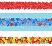 Three Horizontal Seamless Strips with Hearts. Royalty Free Stock Photo