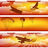 Three horizontal stripes with sunset sky. Royalty Free Stock Photos