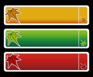 Three horizontall autumn banners vector. Three horizontall autumn banners with maple Royalty Free Stock Photo