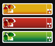 Three horizontall autumn banners vector. Three horizontall autumn banners with oak and acorn Royalty Free Stock Image
